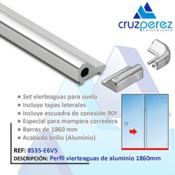 Set perfil vierteaguas de aluminio 1 86 mts for Perfil vierteaguas mampara