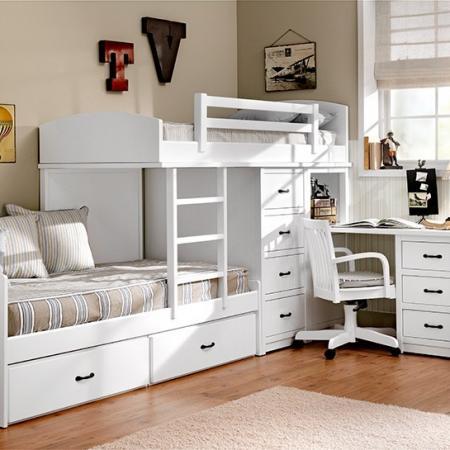 Dormitorio de cama tren lacado blanco - Cama tren juvenil ...