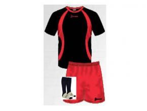 Equipación de fútbol Mogro negro/rojo