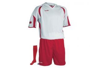 Equipación fútbol Jemsz silver blanco/rojo