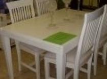 Mesa extensible y sillas blanco envejecido en oferta