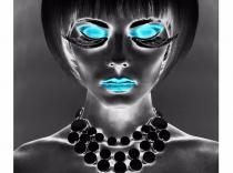 Cuadro impresión rostro gris-azul