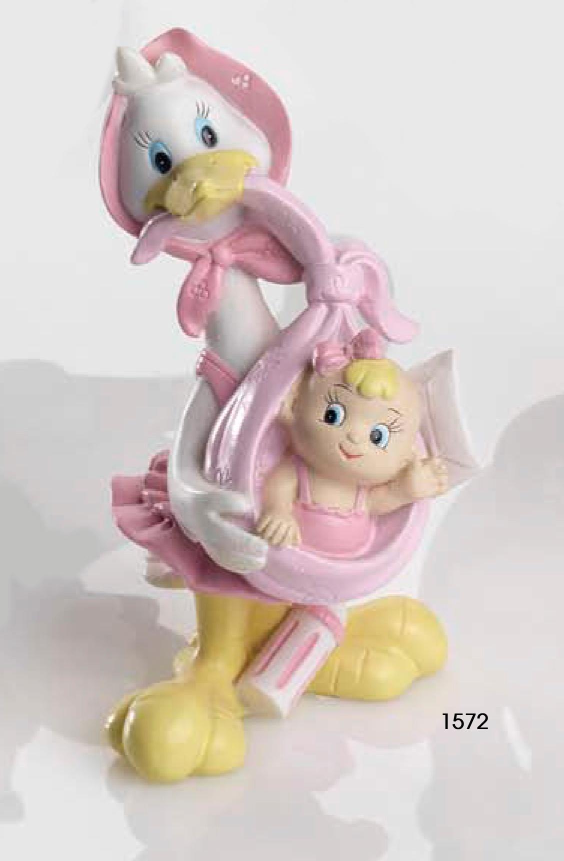 Figura Tarta Bautizo Cig/üena rosa bebe coche